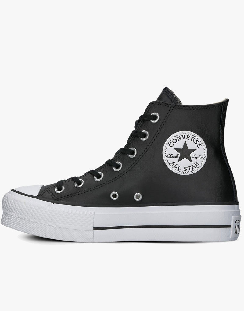 Converse All Star Platform Black Leather Womens High - Converse